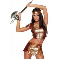 Wholesale Hero Costumes Wholesale Brown PVC Warrior Maiden Halloween Costume with size S to XXL from china suppliers