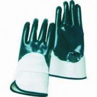 10.5-inch Blue Nitrile Half-coated Gloves with Safety Cuff, Jersey/Interlock Lining, CE Mark for sale
