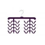 China Fashion Design Double Four Racks Velvet Flocked Hangers For Tie Hanging for sale
