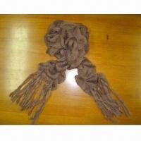 Wholesale Acrylic Knitted Scarf, Measuring 170 x 18 + 18cm from china suppliers