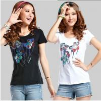 China CUSTOM LOGO women 150g short sleeve T SHIRT transfer sublimation 100%COTTON T-shirt for sale