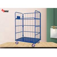 Folding Steel Industrial Wire Mesh Trolley Coil Galvanized Logistics Vehicles for sale