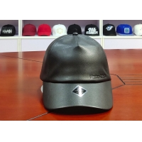 Wholesale High Quality Leather Fabric Emboss Logo Custom Velcro Closure Baseball Curve Brim Cap from china suppliers