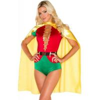Wholesale Hero Costumes Wholesale Spandex Satin Red Green Sexy Sidekick Costume with size S to XXL from china suppliers