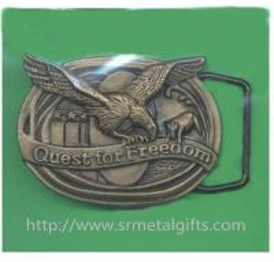 China Vintage retro metal antique brass American eagle emblem men's belt buckles, zinc alloy, on sale