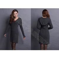 China V Neck Cable Knitted Ladies Sweater Dresses With Hood , Narrow Waist Womens Sweater on sale