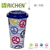 Wholesale soft nozzle Flip straw tumblers double wall plastic cups 16oz RC-330 from china suppliers
