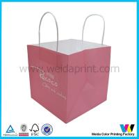 Square Handles Logo Printed Pink Kraft Paper Bags For Cake Packaging for sale