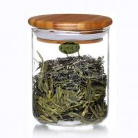 Wholesale 800ml Clear Glass Tea Storage Jars , Glass Tea Canister With Wooden Lid from china suppliers
