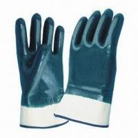 10.5-inch Blue Nitrile Full-coated Safety Gloves w/ Safety Cuff, Jersey/Interlock Lining and CE Mark for sale