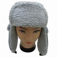 China Winter Hat with Artificial Wool, Made of 100% Cotton/Polyester, Various Colors/Designs are Available on sale