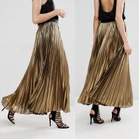 China Custom service women clothes latest skirts design gold long pleated skirt for sale
