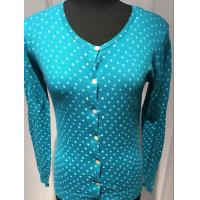 Wholesale Ladies Long Sleeve Printed Cardigan Sweater Wide Round Neck 14gg Computer knitted from china suppliers