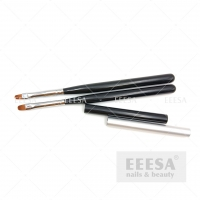 Wholesale Bright Black Wooden Hadndle Nylon Hair Oval Shape Size 6 Gel Brush With Lid from china suppliers