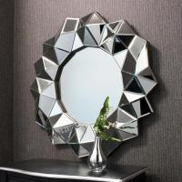 Hotel Round 3D Wall Mirror 35 Inches / Customer Size Faceted Framless Design for sale