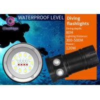 Wholesale 80M Marine Flash Torch Flashlight For Diving 10000LM Cree Button Switch 120 Degree Beam Angel from china suppliers