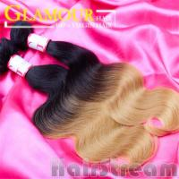 Quality Two Color human Brazilian ombre hair weave dark blonde real Brazilian hair for sale