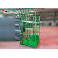 Green Powder Coated Roll Container Trolley  ,  Mobile Cage Trolley for sale