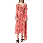 China Custom Silk Asymmetrical Hem Floral Print Off-the-Shoulder Maxi Dress for sale