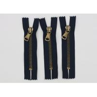 Garment Antique Brass 14 Inch Heavy Duty Metal Zippers Navy Tape For Coveralls