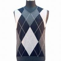 China Men's knitted vest with several color intarsia on sale