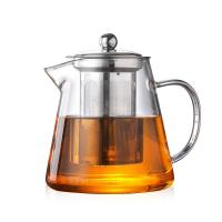 China Heat Resistant Clear Glass Teapot with 304 Stainless Steel Strainer Durable for sale