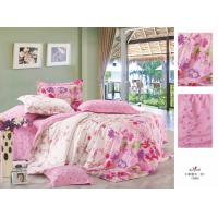 Wholesale Pink Printed Personalized Full Size Family / Hotel Cotton Bed Sheet Sets from china suppliers