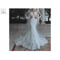 China Soft Long Sleeve Mermaid Wedding Gown Long Fishtail Special Beaded for sale
