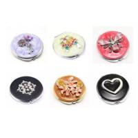 China Beautiful Women's Metal Anniversary Gifts Travel Cosmetic Mirror With Enamel Filling on sale