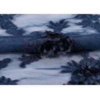 China Water - Soluble Mesh Lace Fabric 100% Polyester Embroidered With 3D Flowers on sale