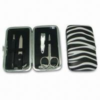 China Manicure Set with PU Case/Carbon Steel, Suitable for Men and Women on sale