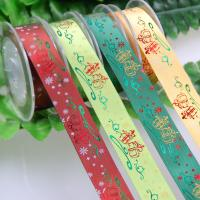 China Polyester Bespoke Foil Printed Ribbon for Christmas Gifts Packaging Deco. for sale