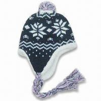 Wholesale Acrylic Knitted Hat with Lamb Fur Lining, Available in Various Colors from china suppliers