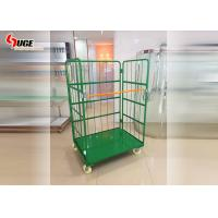 Warehouse Foldable Turnover Trolley Logistics Cage Green Powder Coated for sale