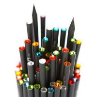 Wholesale Personalized Swarovski Crystal Pencils For Kids , Black Wood HB Pencils from china suppliers