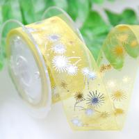 China Gifts Yellow Sheer Ribbon, Double Sided Custom Printed Ribbon By The Yard for sale