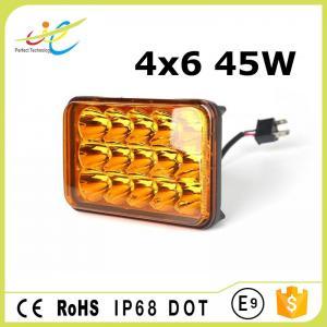 DCV12V 24V sealed beam rectangle waterproof IP68 4x6 Amber 45W truck headlight  LED work light with Hight Low Spot beam