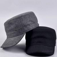 China Curved Visor Adult Wool Cotton Quality Mens Military Army Winter Warm Metal Strap Flat Top Hat Cap on sale