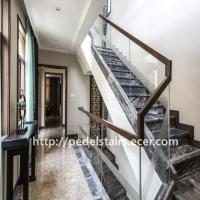 China Customized exit steel and wood staircase glass staircase guardrail on sale