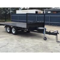 14 x 8ft Hydraulic Tipping Flat Top Tandem Trailer With Disc Brakes / LED Lights