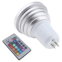 China Auto Color Decorative GU10 1 * 3W Remote Control 16 - Color RGB LED Spotlight Lamp Bulb on sale