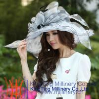 Wholesale Normal Day Women Fancy Organza Wedding Hats With Black / White 57 CM from china suppliers