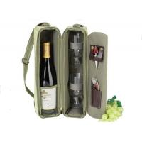 China Customized single wine picnic bag wine bottle and two glass bag with strap on sale