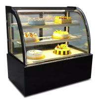 China Green & Health Curved Glass Bakery Cake Display  Freezer With 500L on sale