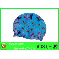 Wholesale Silk printed Silicone Swim Caps Custom Color and Size , Bathing Caps for Swimming from china suppliers
