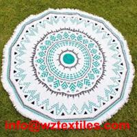 Wholesale High Quality 100% Cotton Cheap Round Beach Towels With Tassels from china suppliers