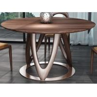 Wholesale Nordic style Living room Furniture Walnut Wooden Circular Dining table in Special design Legs and Stainless steel plate from china suppliers