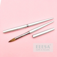 Wholesale High Quality Silver Ring Metal Handle Kolinsky Sable Hair Nail Acrylic Brush Size 12 from china suppliers
