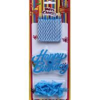 Wholesale Blue and White Spiral Birthday Candles with Blue Holders (LWC0030) from china suppliers