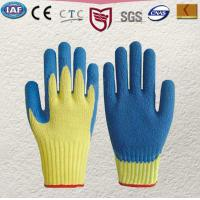 Quality 100 % Kevlar knitted glove Palm and finger tips coated in blue latex Knitted for sale
